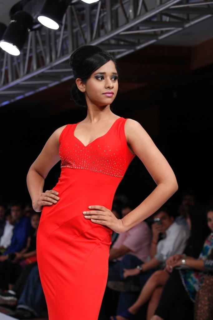 A Sexy Model In Red Dress Pose On Ramp At Blenders Pride Hyderabad International Fashion Week