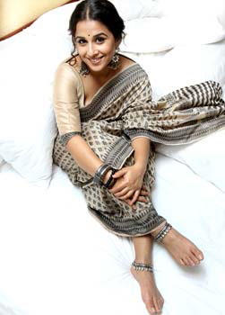 Smiling Vidya Balan In Saree Glamour Look Still