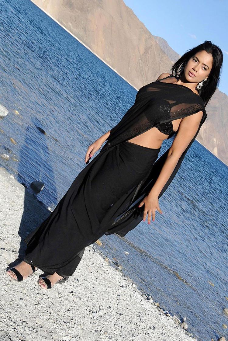 Sameera Reddy In Black Saree Hot Still