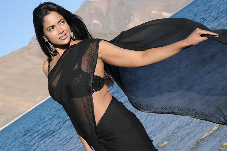 Sameera Reddy In Black Saree Spicy Hot Still