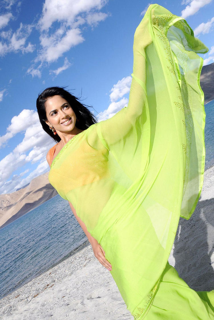 Sameera Reddy Sizzling Look In Saree Still