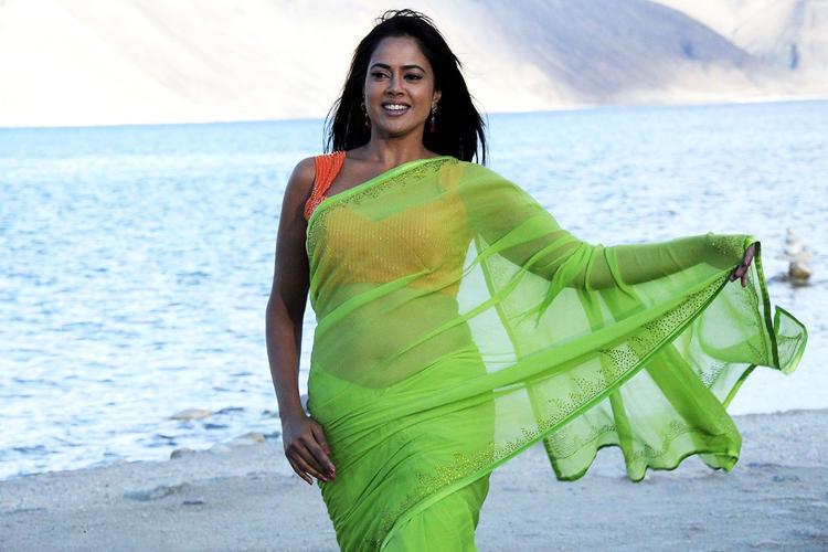 Sameera Reddy In Tranparent Saree Hot Look Still