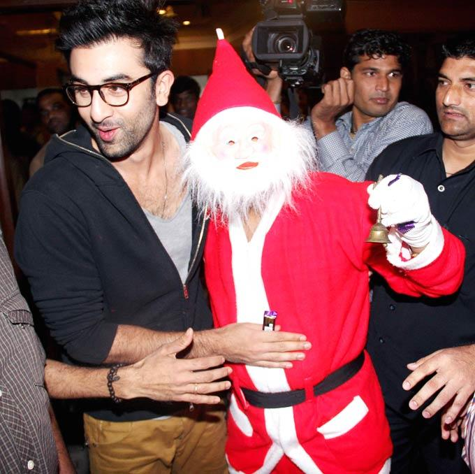 Ranbir Kapoor Poses With Santa Claus At Tata Memorial Hospital