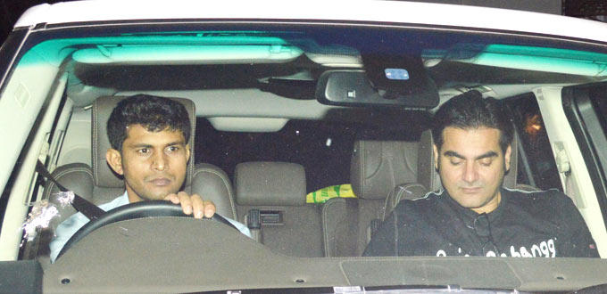 Arbaaz Khan Spotted In Car At Salman Khan Birthday Bash