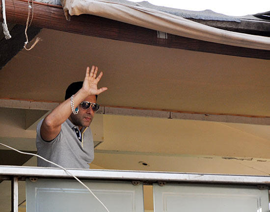 Salman Khan Greets His Fans At Outside Of His Resident