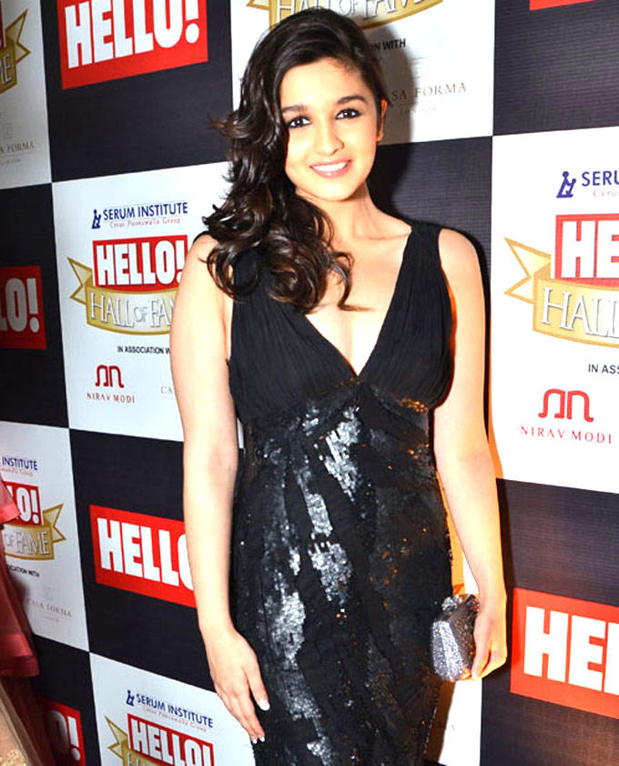 Alia Bhatt Spotted At Hello Magazine In A Black Gown