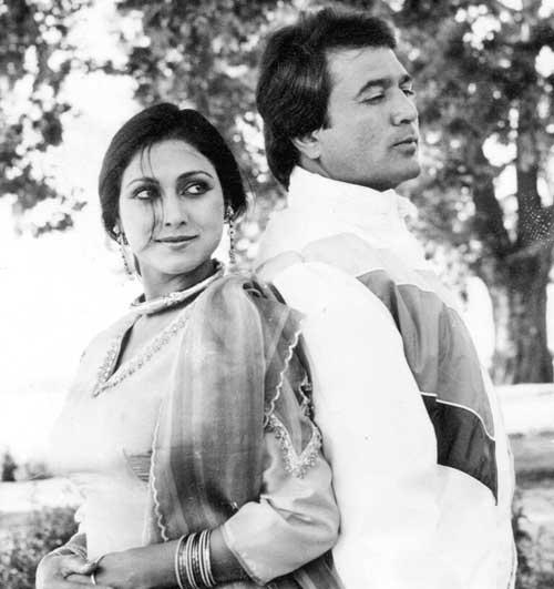 Rajesh Khanna And Tina Munim Romantic Scene Still From One Of His Movie