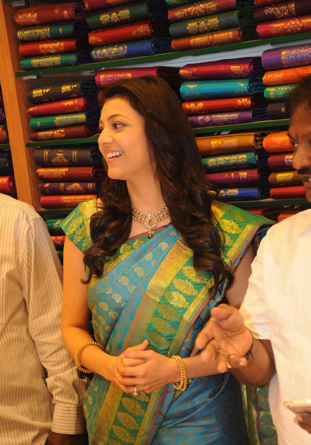 Kajal Aggarwal In Saree At South India Shopping Mall Launch Event