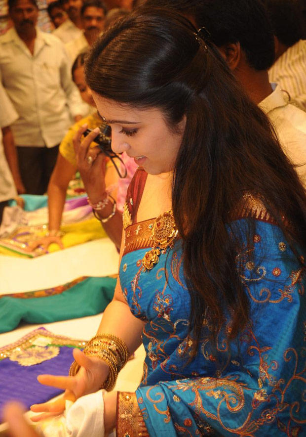 Charmi Nice Look In Silk Saree At SVR Brothers Showroom Launch Event
