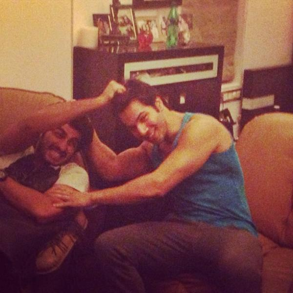 Varun And Arjun Cool Fighting Still At Rohit Dhawan Birthday