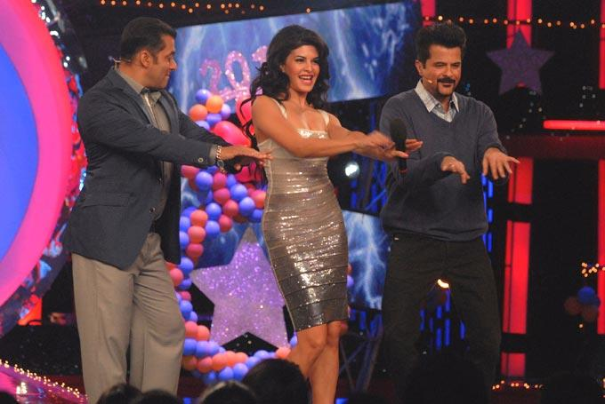 Salman,Anil And Jacqueline Dancing Photo Clicked On The Sets Of Bigg Boss 6