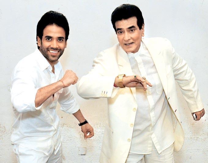 Tusshar Kapoor With His Dad Jeetendra Kapoor At A Photo Shoot Still