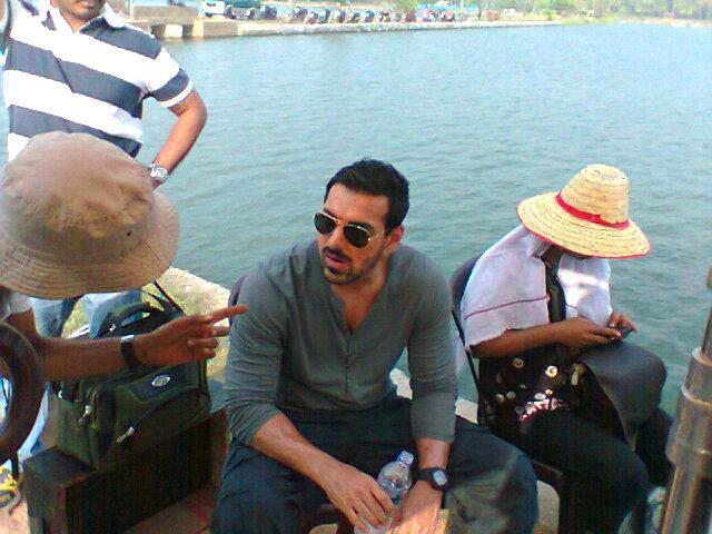 John Abraham Discussion Still On The Sets Of Madras Cafe Movie