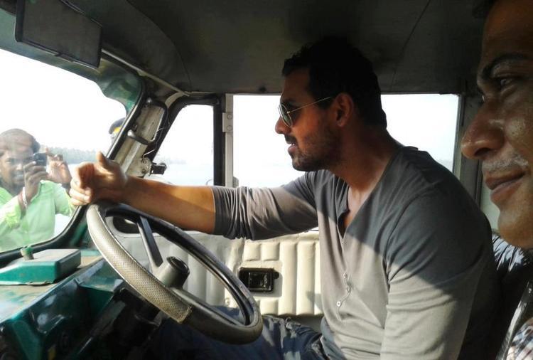 John Abraham Driving Still On The Sets Of Madras Cafe Movie