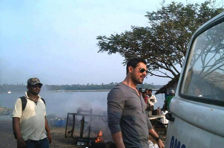 John Abraham During On The Sets Of Madras Cafe Movie