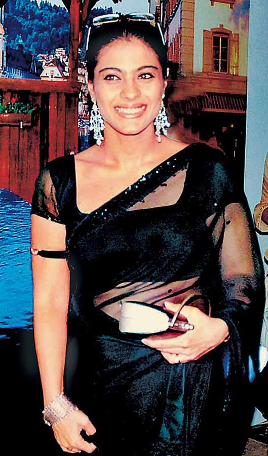 Kajol Devgan Black Transparent Saree Wallpaper