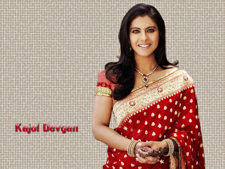 Kajol Devgan Red Saree Beautiful Wallpaper