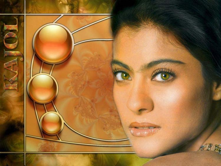 Kajol Devgan Sexy Eyes and Wet Lips Wallpaper