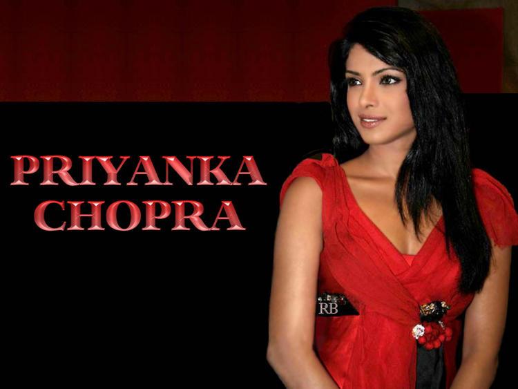 Priyanka Chopra Red Dress Awesome Face Wallpaper
