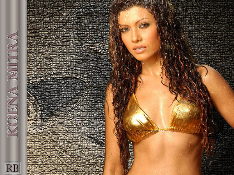 Koena Mitra Curly Hair Wet Bikini Wallpaper