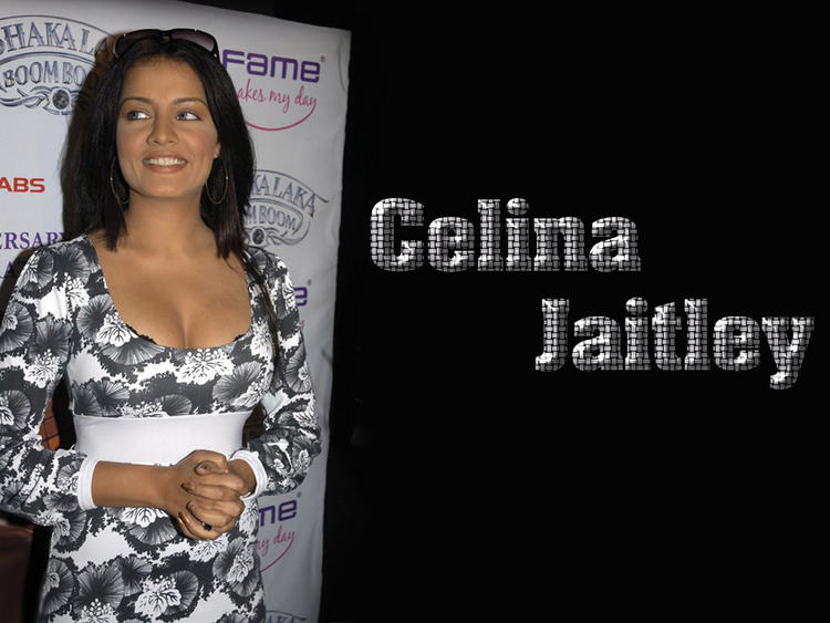Celina Jaitley Open Boob Show Smile Face Wallpaper