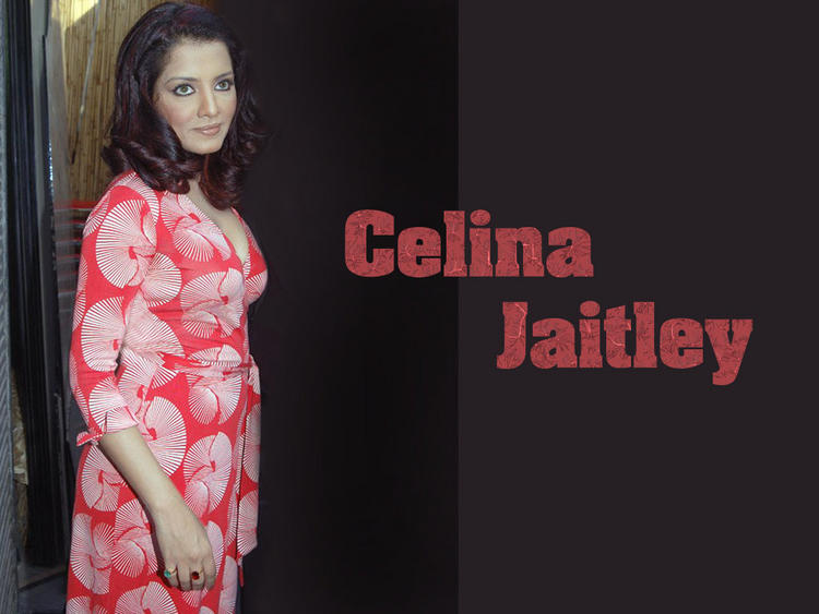 Celina Jaitley Red Dress Wallpaper