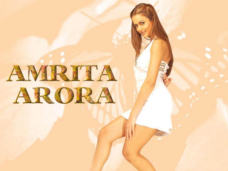 Amrita Arora Short  White Dress Wallpaper