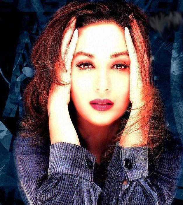 Madhuri Dixit Sexy Eyes and Wet Lips Wallpaper