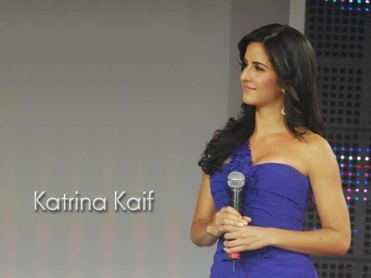 Katrina Kaif Blue Dress Cute Face wallpaper