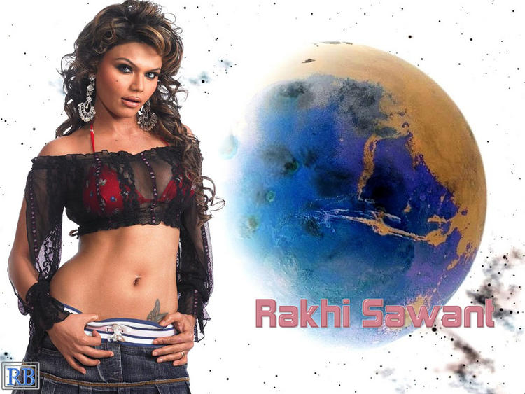 Rakhi Sawant Curly Hair and Spicy Navel Pose Wallpaper