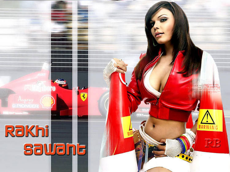 Rakhi Sawant Hot Navel and Sexy Boob Wallpaper