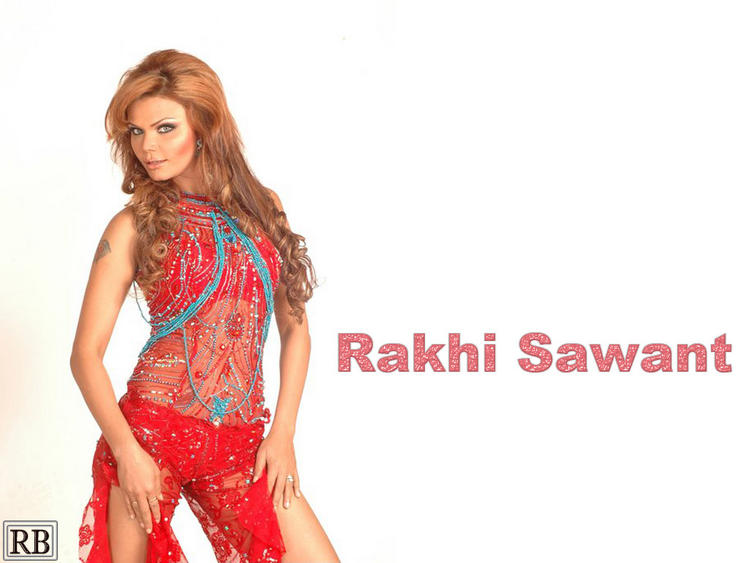 Rakhi Sawant Red Hot Dress Wallpaper