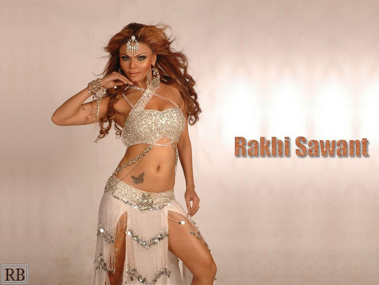 Rakhi Sawant  Sexy Dress Navel Show Wallpaper