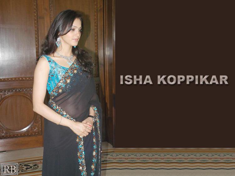 Isha Koppikar In Black Transparent Saree