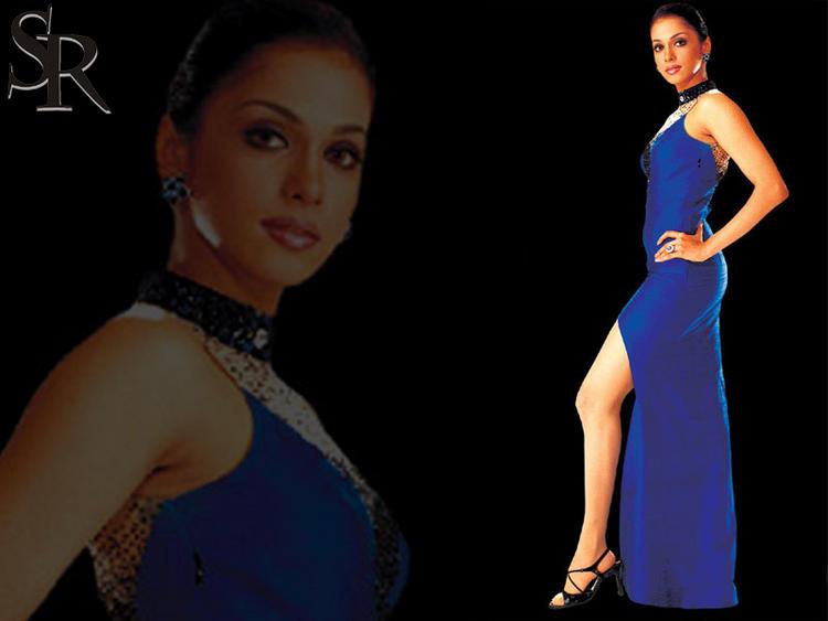 Isha Koppikar Blue Dress Hot Wallpaper