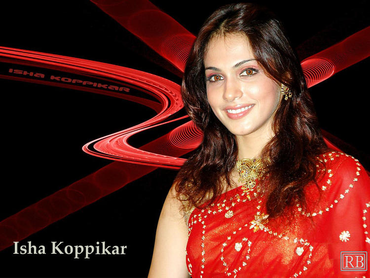 Isha Koppikar Red Saree Gorgeous Wallpaper