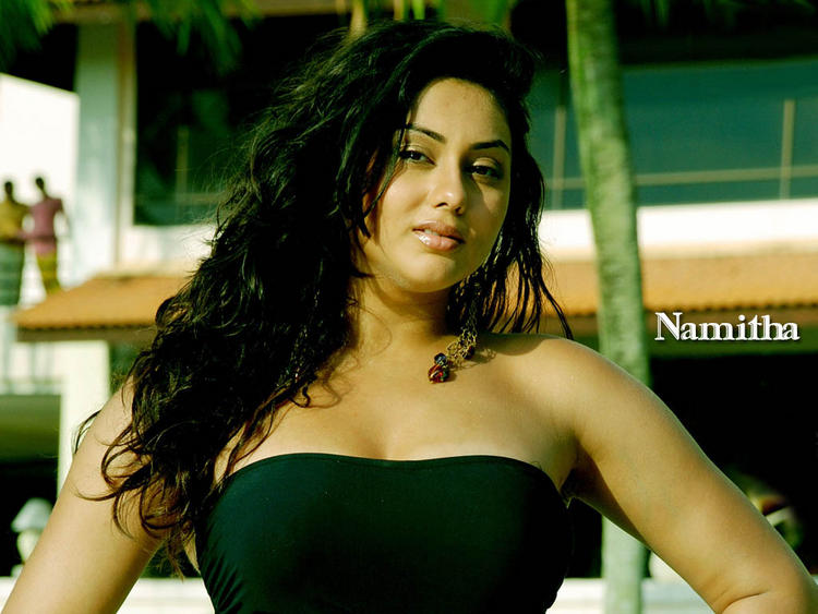 Namitha Curly Hair and Sleeveless Dress Still