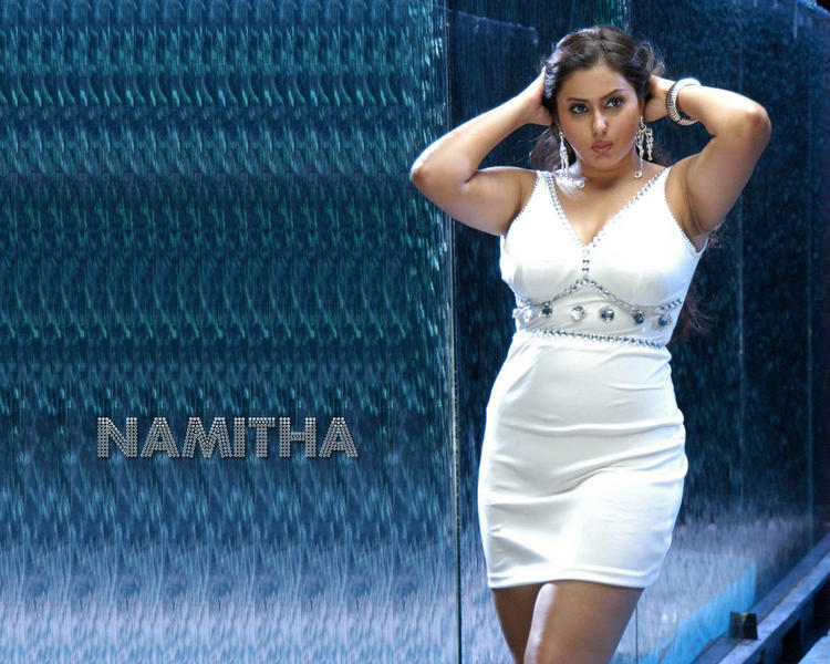 Namitha Short white Shirt Wallpaper