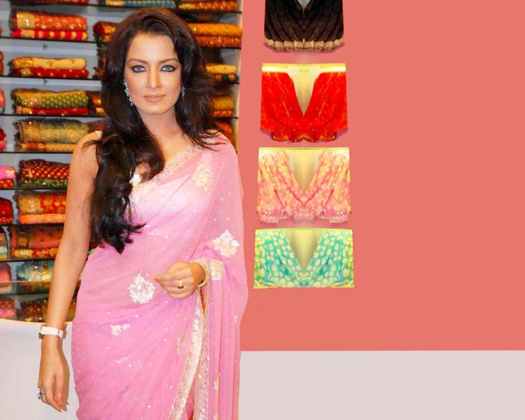 Celina Jaitley Pink Saree Beauty Still