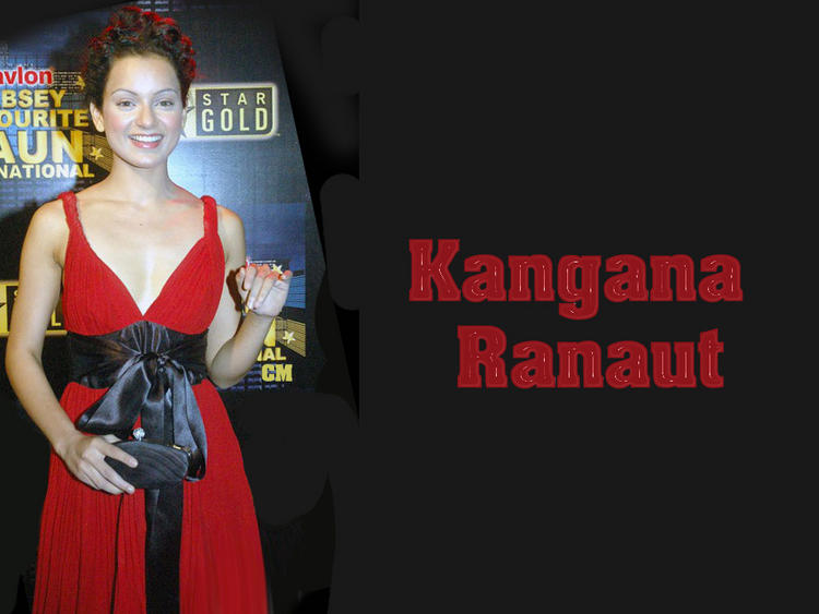 Kangana Ranaut Red Dress Smile Face Wallpaper