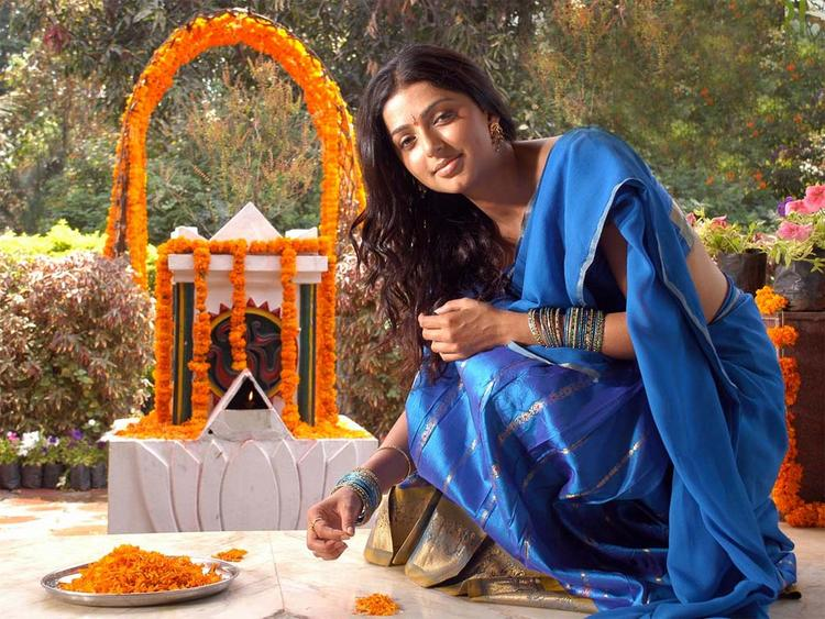 Bhumika Chawla Blue Saree Sizzling Photo