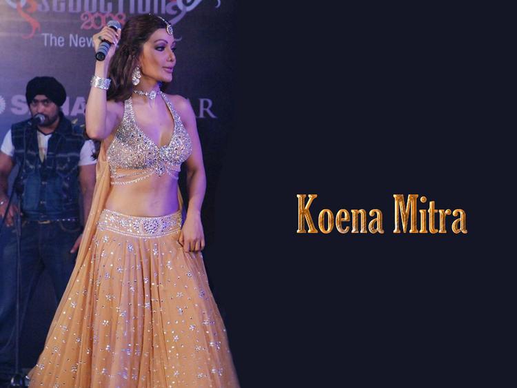 Koena Mitra Gorgeous Dress Dance Pose Wallpaper