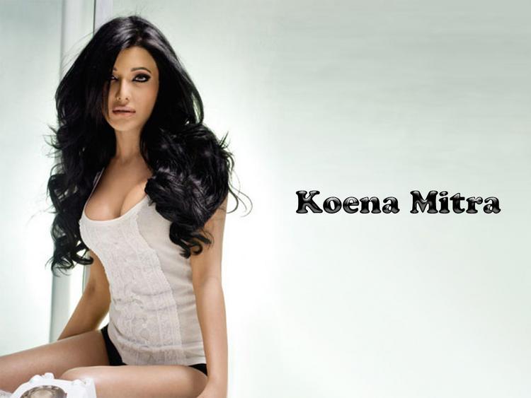 Koena Mitra Open Boob Show Wallpaper