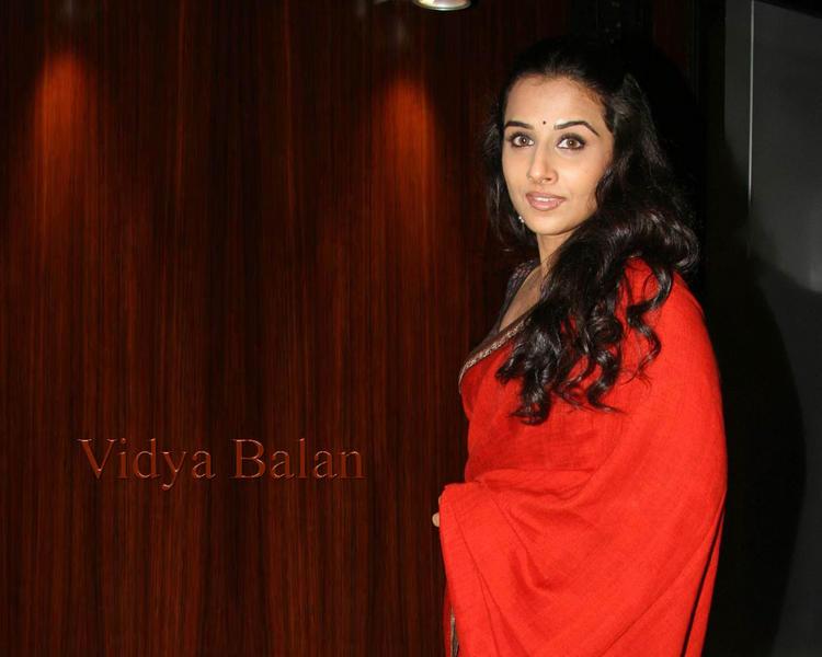 Vidya Balan Red Gorgeous Saree Wallpaper