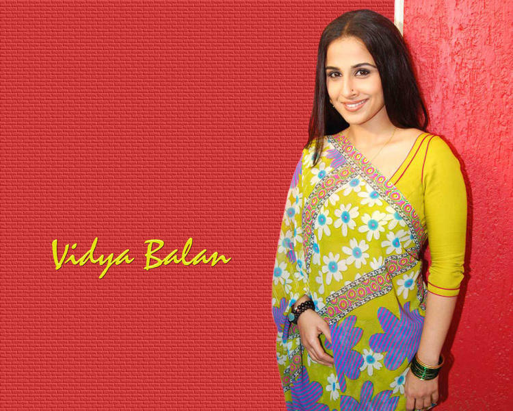 Vidya Balan In Saree Sweet Wallpaper