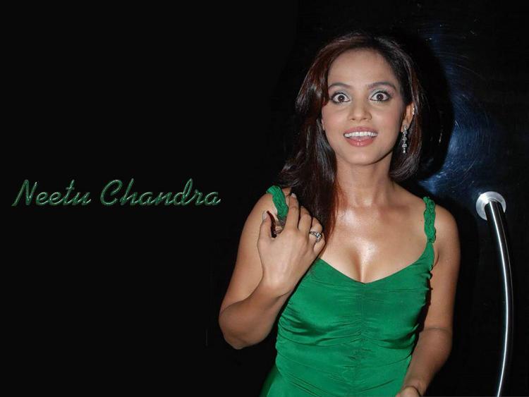 Neetu Chandra Green Dress Cute Look Wallpaper