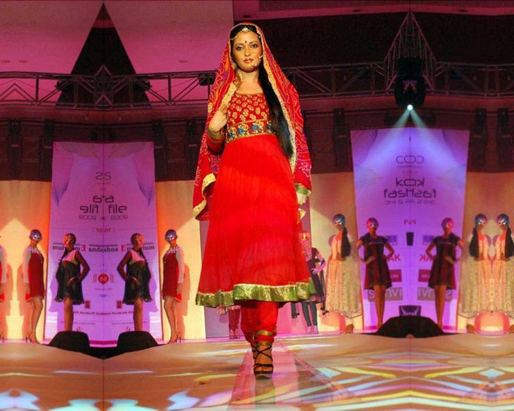 Riya Sen Red Dress Walk Photo