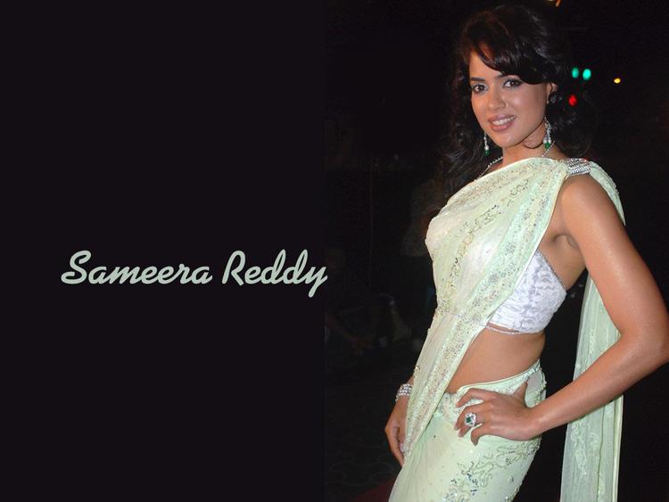 Sameera Reddy In Saree Sexy Pic