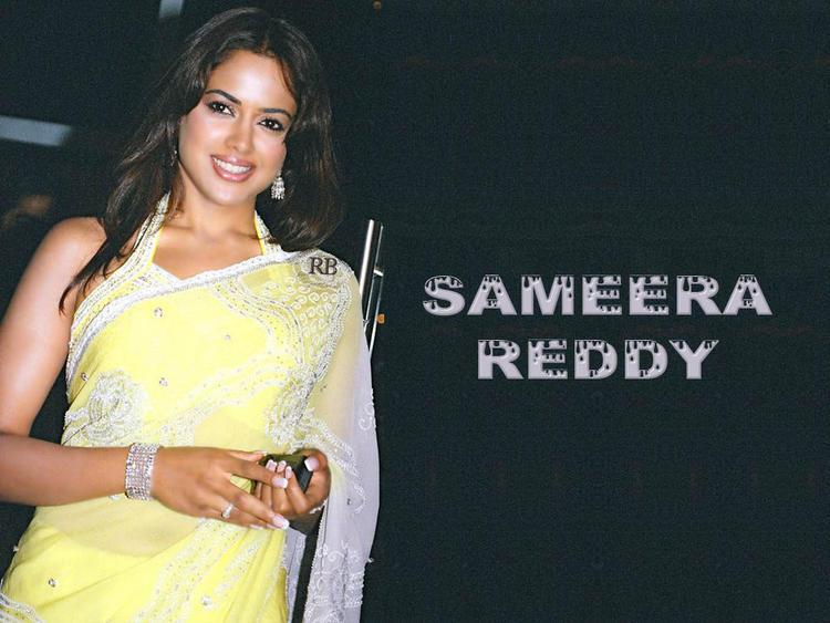 Smiling Beauty Sameera Reddy In Saree