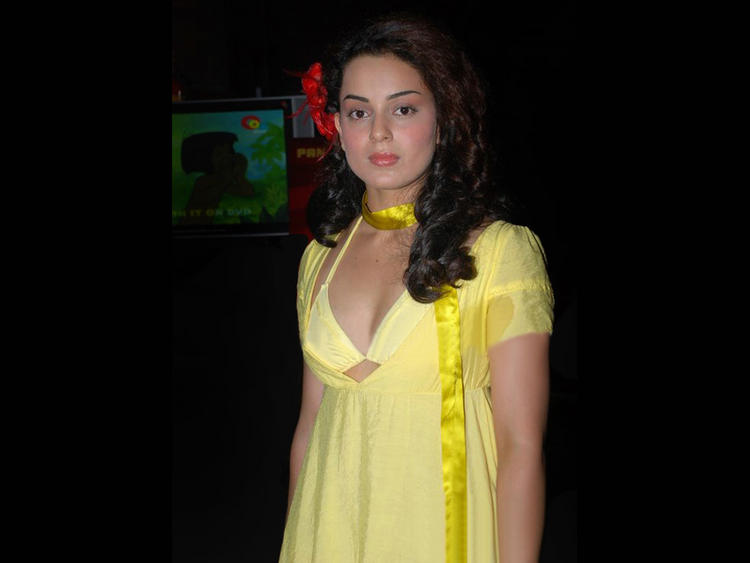 Kangana Ranaut Yellow Dress Glamour Photo